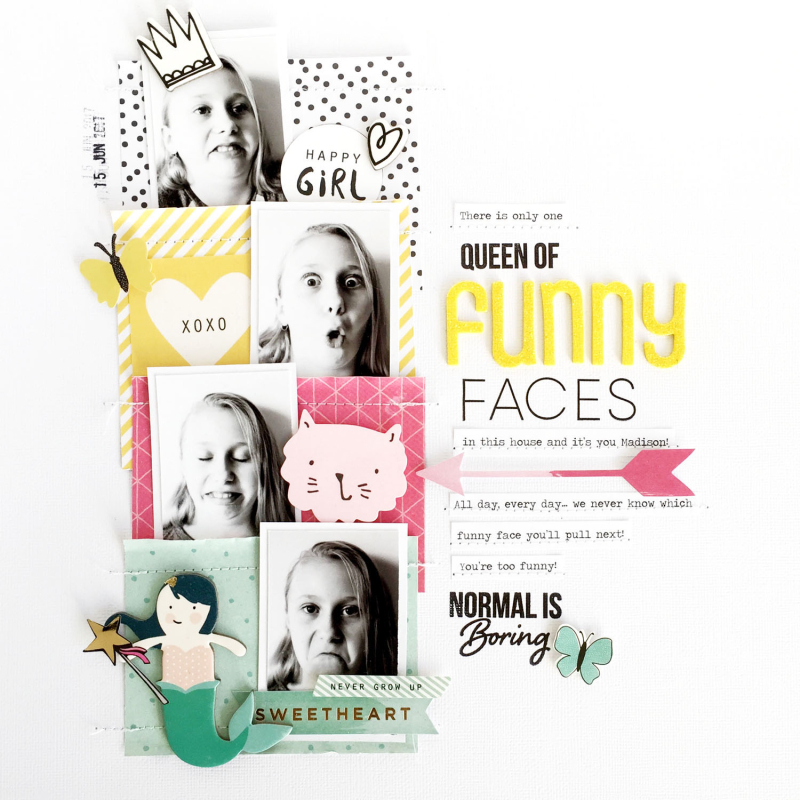 Funny Faces Layout with Kellie Stamps
